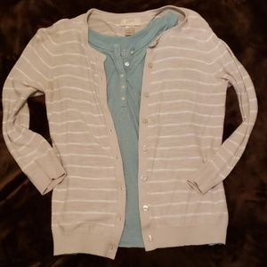 Grey and white striped cardigan